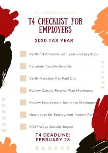 T4 Checklist for Employers 2020 Tax Year